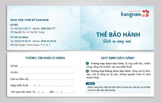 Kangnam áp dụng chính sách bảo hành cho dịch vụ nâng mũi thẩm mỹ